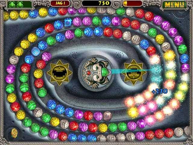 Zuma, pantalla con dos cadenas de bolas