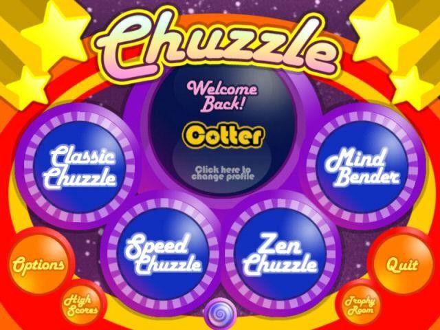 Chuzzle, menú principal del juego
